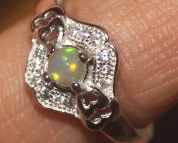 Natural Ethiopian Welo Opal 925 Silver Ring Size (5 US) 18