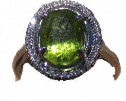 Peridot 3.5ct White Gold Ring, Natural, Oval, Untreated,Brand New,Resizable