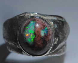 13.5sz Mexican Water  Opal Sterling Silver Ring