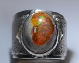 8sz Mexican Water  Opal Sterling Silver Ring