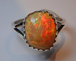 9.5sz. BRILLIANT WELO OPAL STERLING RING