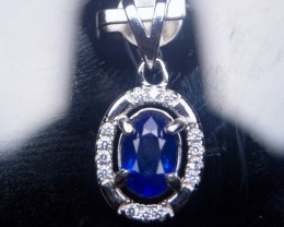 Natural Heated Sapphire Silver Pendant With Cubic Zircons