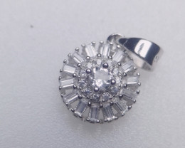 Natural White Topaz Silver Pendant With Cubic Zircons
