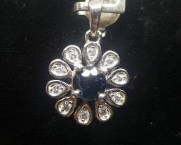 Natural Un Treated Burma Spinel Silver Pendant With Cubic Zircons
