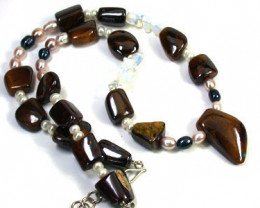 Opal Ironstone and Gemstone necklace  EM571