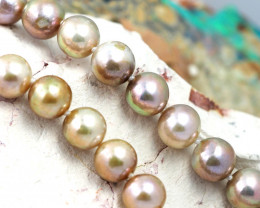 8 mm rGolden graded high luster pearl strand 40cm length AGR 981