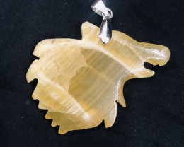 86 Ct Natural Wolf Shape Calcite Pendent