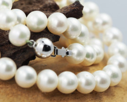 7 mm round graded high luster pearl strand 40cm length AGr 980