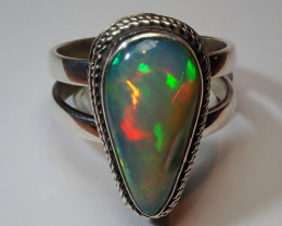 11SZ BRILLIANT WELO OPAL STERLING RING