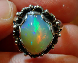 4.5SZ BRILLIANT WELO OPAL STERLING RING