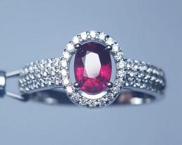 Natural Rubellite Silver Ring With Cubic Zircons