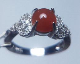 Natural Agaite Copper Ring With Cubic Zircons