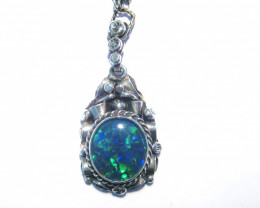 Unique Australian Triplet Opal and Sterling Silver Pendant with Fancy Chain