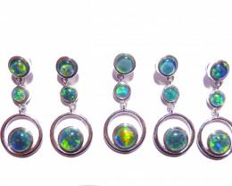 5 Genuine Australian Gem Grade Triplet Opal and Sterling Silver Pendants