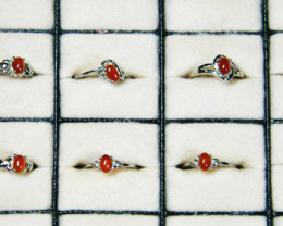 RESELLERS DEAL EIGHT CARNELIUM RINGS SIZES 7-8 AAT 515