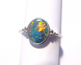Beautiful Australian Opal and Sterling Silver Ring  Size M 1/2