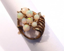 Unique Solid Australian Opals and Gold Gilt Ring  Size J or 4.75