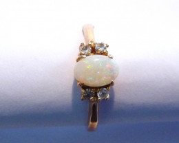 Pretty Solid Australian Opal and Gold Gilt Ring  Size P or 7.5