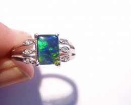 Stunning Australian Triplet Opal and Sterling Silver Ring  Size Q or 8