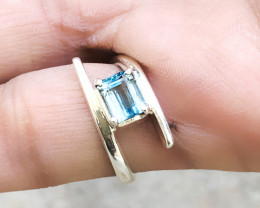 15.20 Ct Natural Blueish Transparent Tourmaline Ring Solid Silver US 6