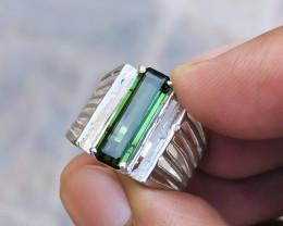20 Ct Natural Greenish Transparent Tourmaline Gemstone Ring Size US 7