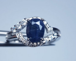 Natural Heated Dark Blue Sapphire Silver Ring With Cubic Zircons