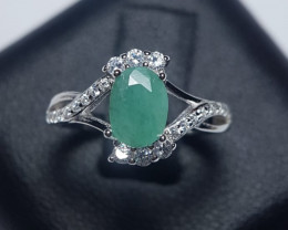 Natural Zambian Emerald Silver Ring With Cubic Zircons