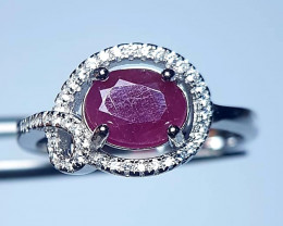 Natural Burama Heated Pink Ruby Silver Ring With Cubic Zircons