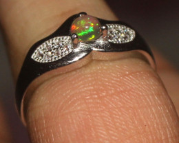 Natural Ethiopian Welo Opal 925 Silver Ring Size (6 US) 62