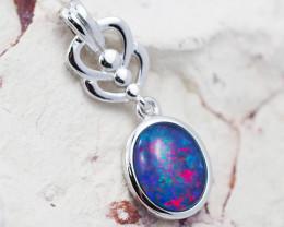 Australian  Opal Triplet in Silver pendant OPJ 2136 A