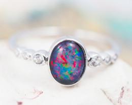 Australian  Opal Triplet in Silver Ring OPJ 2142 A