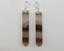 2 Pcs of natural calcite pendent with silver
