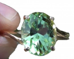 Mint Diopside 4.56ct Solid 18K Yellow Gold Ring,Certified,Appraised,Brand N