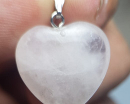 Natural Crystal Heart Shape Pendant With Copper Bale