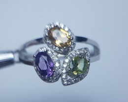 Natural Multi Color Stones Silver Ring With Cubic Zircons