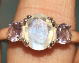 Natural Rainbow & Amethyst 925 Silver Ring Size (9 US) 86