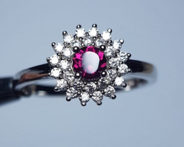 Natural Rhodolite Garnet Silver Ring With Cubic Zircons