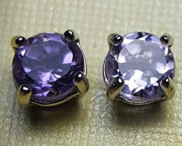 Natural Amethyst Silver Earrings