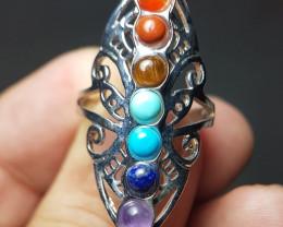 Chakra Multi Color Stones Stillness Steel Ring