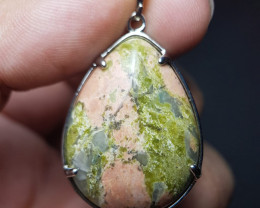 Natural Unakite Stainless Steel Pendant