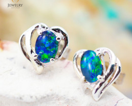 Australian  Opal Triplet in Silver Earrings OPJ 2156