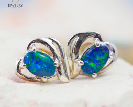 Australian  Opal Triplet in Silver Earrings OPJ 2157