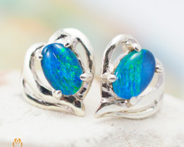 Australian  Opal Triplet in Silver Earrings OPJ 2160