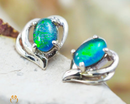 Australian  Opal Triplet in Silver Earrings OPJ 2162