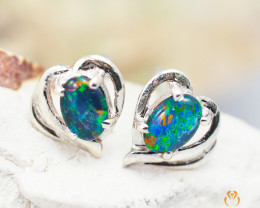 Australian  Opal Triplet in Silver Earrings OPJ 2164