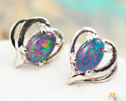 Australian  Opal Triplet in Silver Earrings OPJ 2165