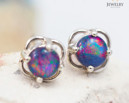 Australian  Opal Triplet in Silver Earrings OPJ 2167