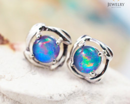 Australian  Opal Triplet in Silver Earrings OPJ 2169
