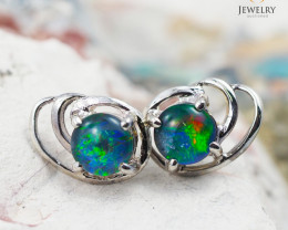 Australian  Opal Triplet in Silver Earrings OPJ 2171