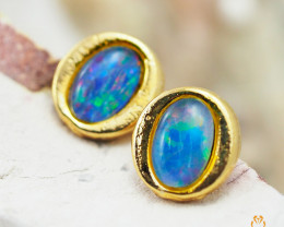 Australian  Opal Triplet in Gold Plated  Earrings OPJ 2151